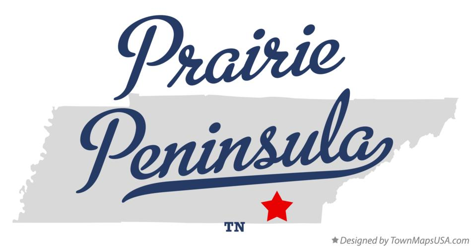 Map of Prairie Peninsula Tennessee TN
