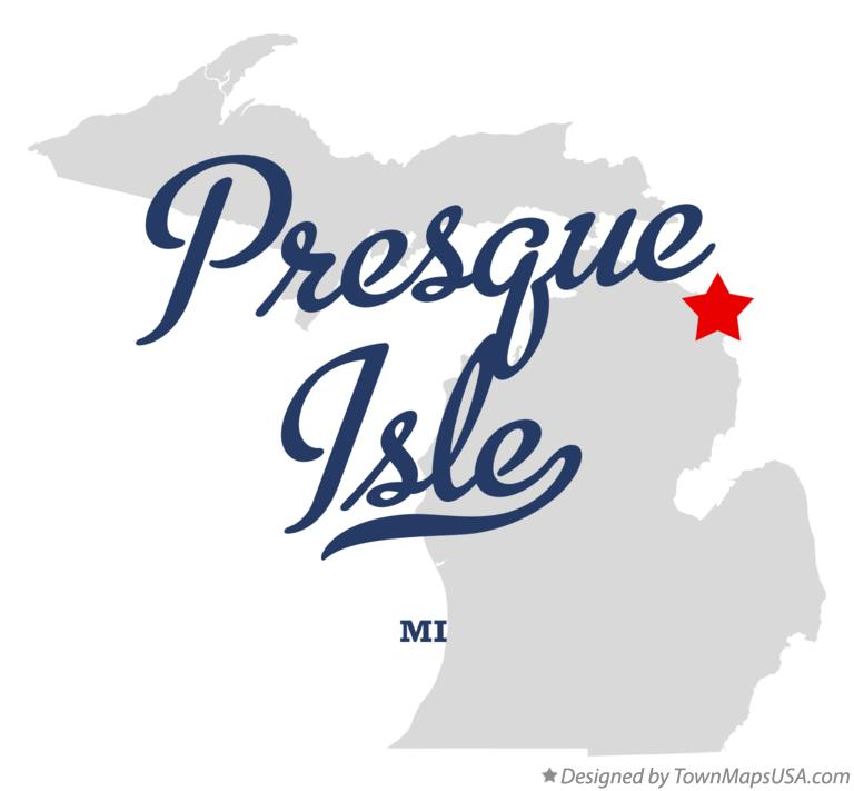 Map of Presque Isle Michigan MI