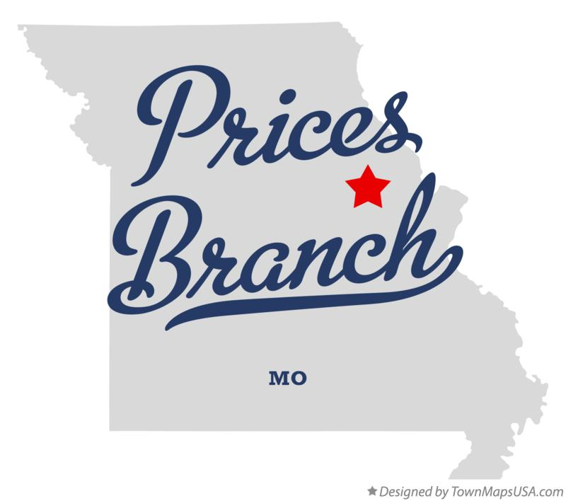 Map of Prices Branch Missouri MO