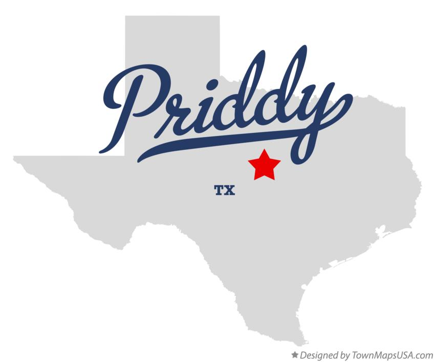 Map of Priddy Texas TX