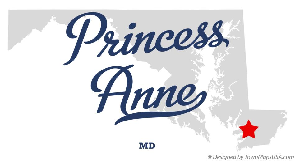 Map of Princess Anne Maryland MD