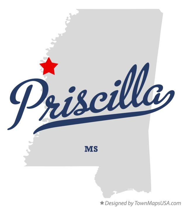 Map of Priscilla Mississippi MS