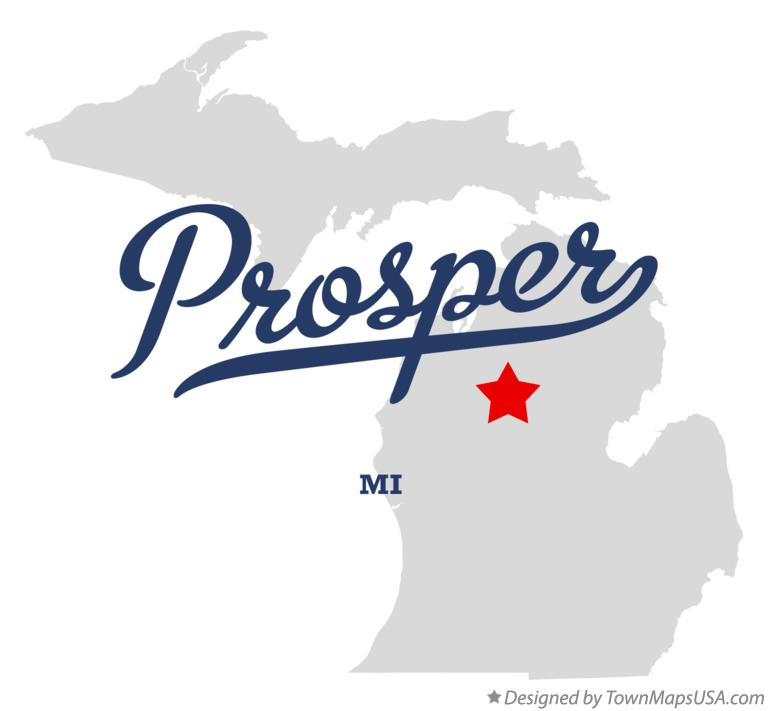 Map of Prosper Michigan MI