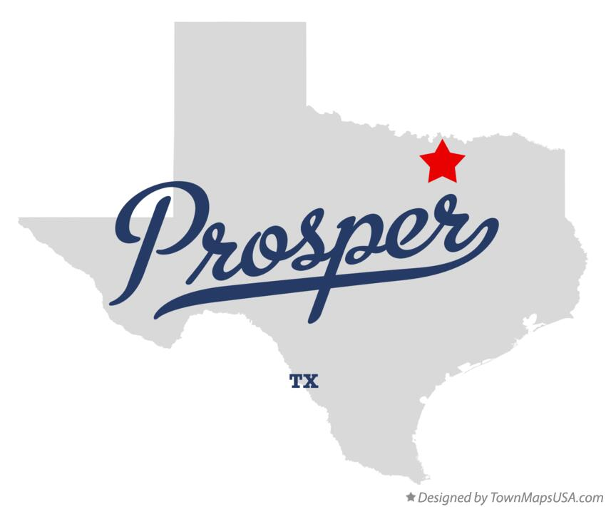 Map of Prosper Texas TX