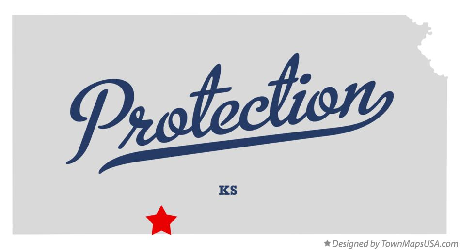 Map of Protection Kansas KS