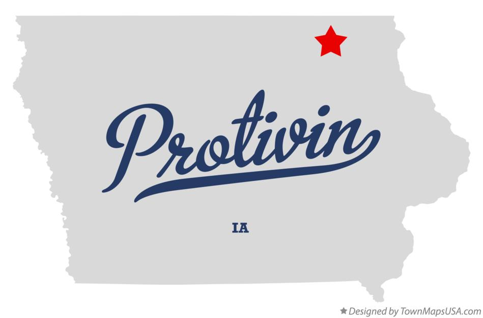 Map of Protivin Iowa IA
