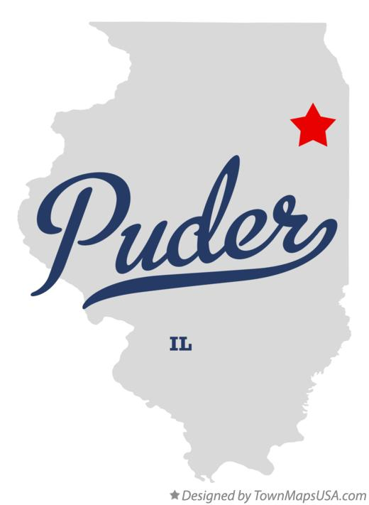 Map of Puder Illinois IL