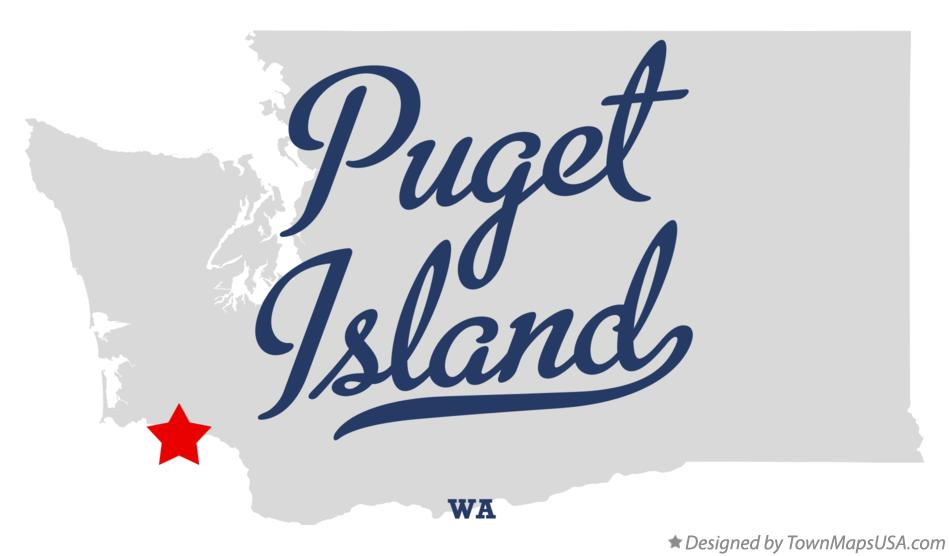 Map of Puget Island Washington WA
