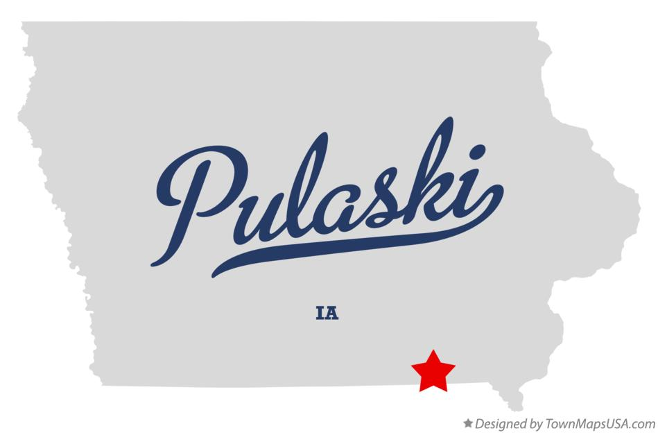 Map of Pulaski Iowa IA
