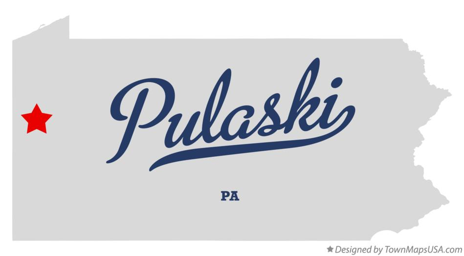 Map of Pulaski Pennsylvania PA