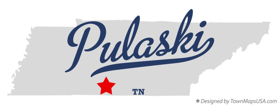 Map of Pulaski, TN, Tennessee