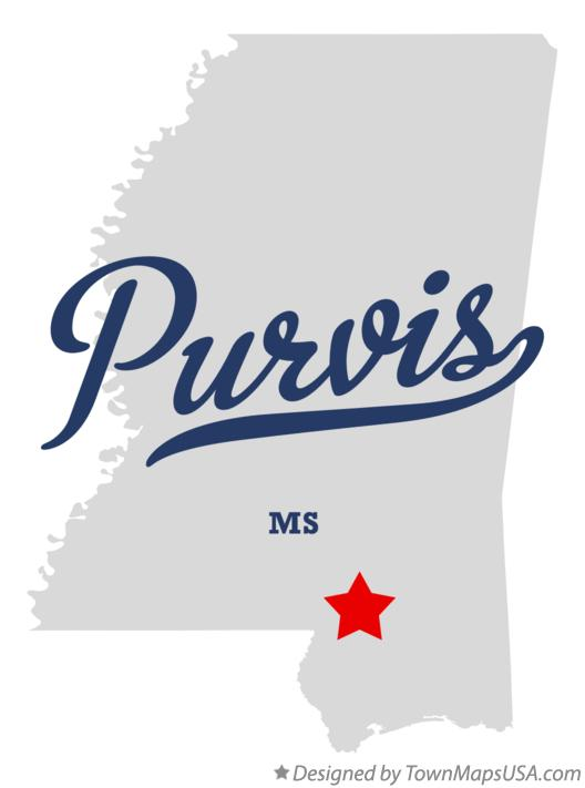 Map of Purvis Mississippi MS