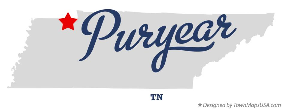 Map of Puryear Tennessee TN