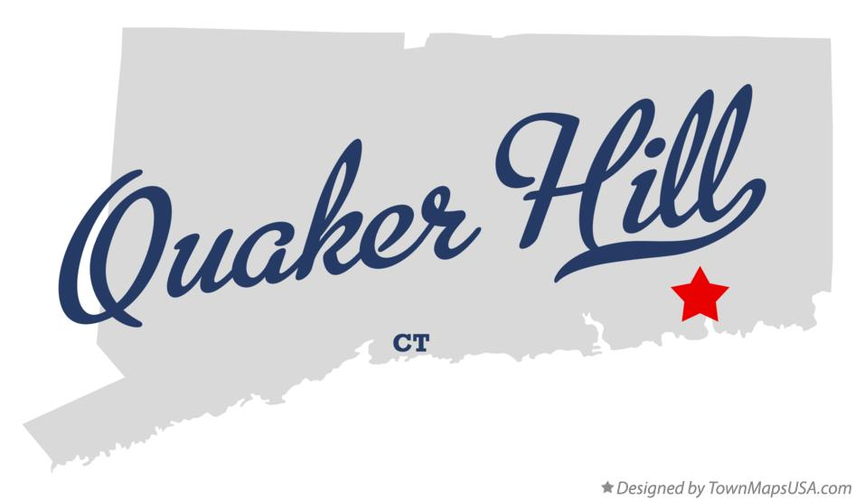 Map of Quaker Hill Connecticut CT