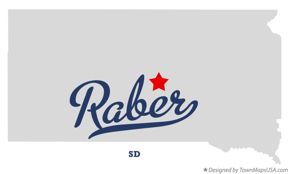 Map of Raber South Dakota SD