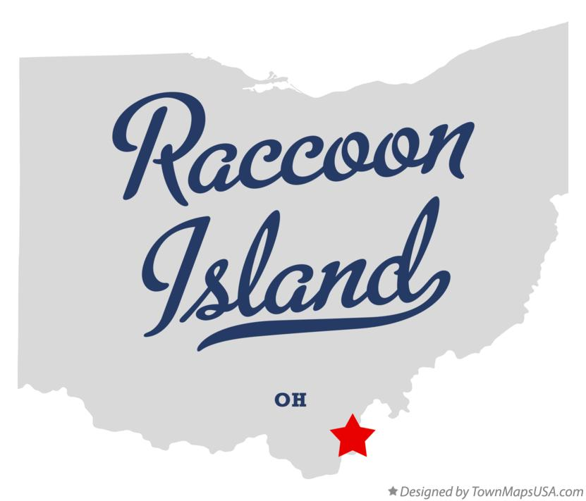 Map of Raccoon Island Ohio OH