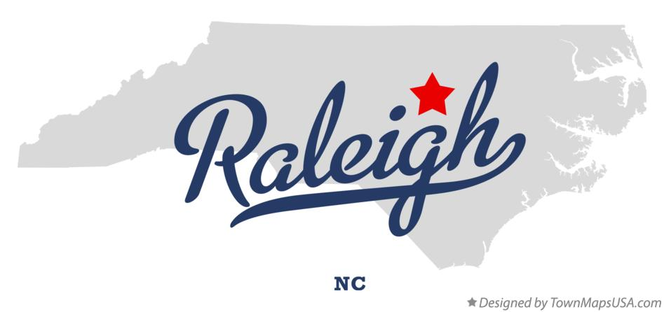 Map of Raleigh North Carolina NC