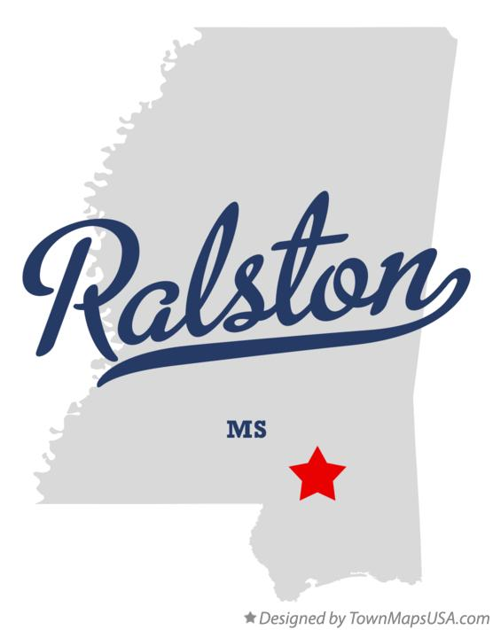 Map of Ralston Mississippi MS