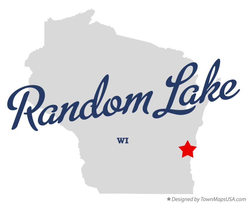 Map of Random Lake Wisconsin WI