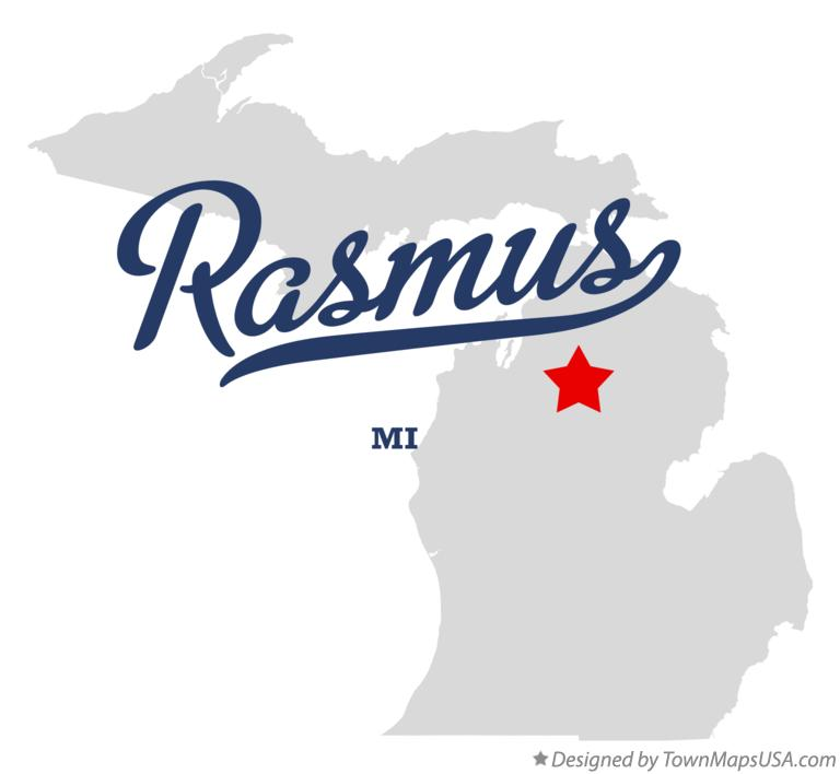 Map of Rasmus Michigan MI