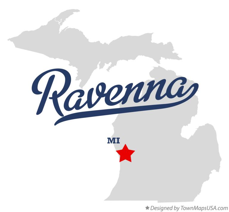 Map of Ravenna Michigan MI