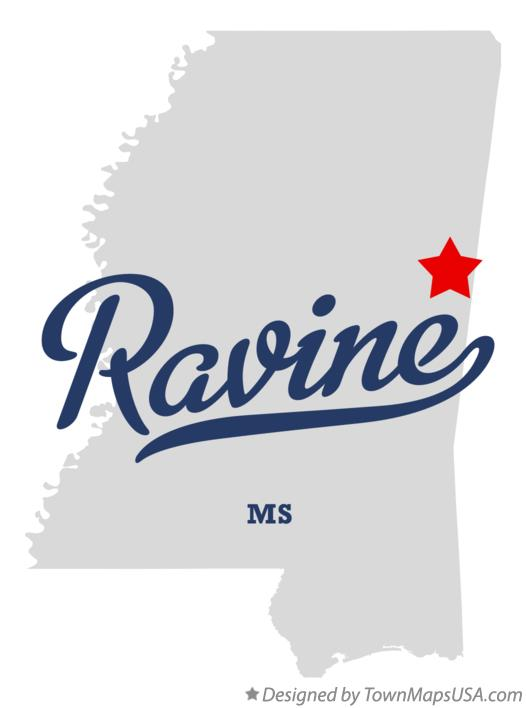 Map of Ravine Mississippi MS