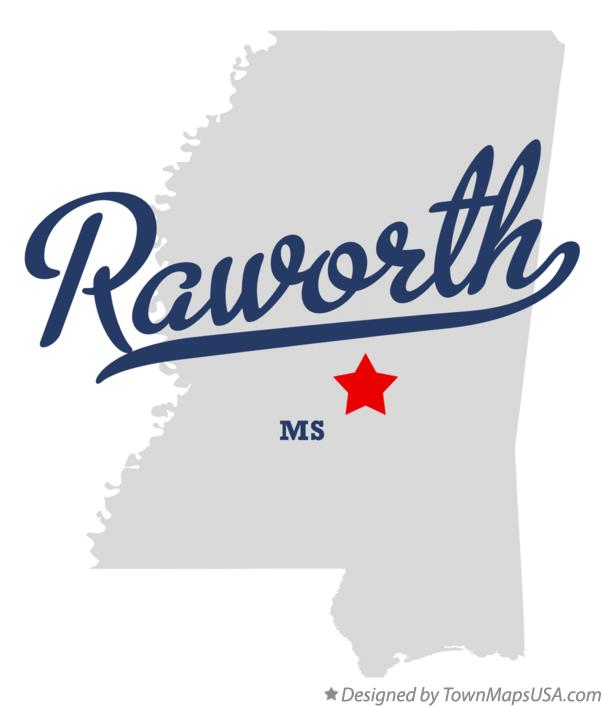 Map of Raworth Mississippi MS