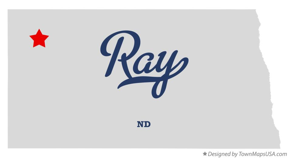 Map of Ray North Dakota ND