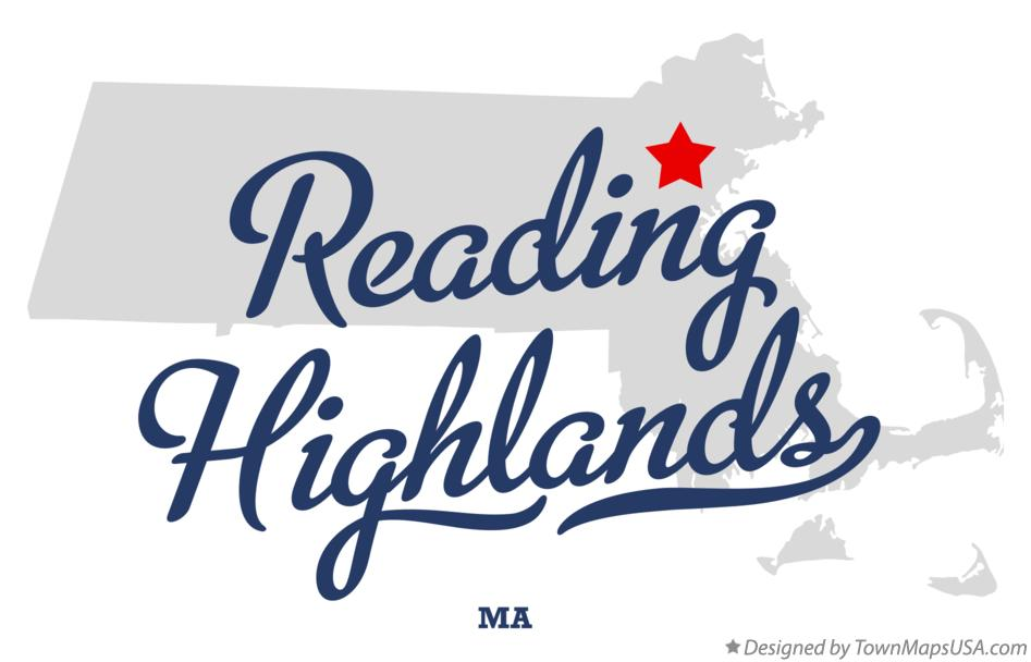 Map of Reading Highlands Massachusetts MA