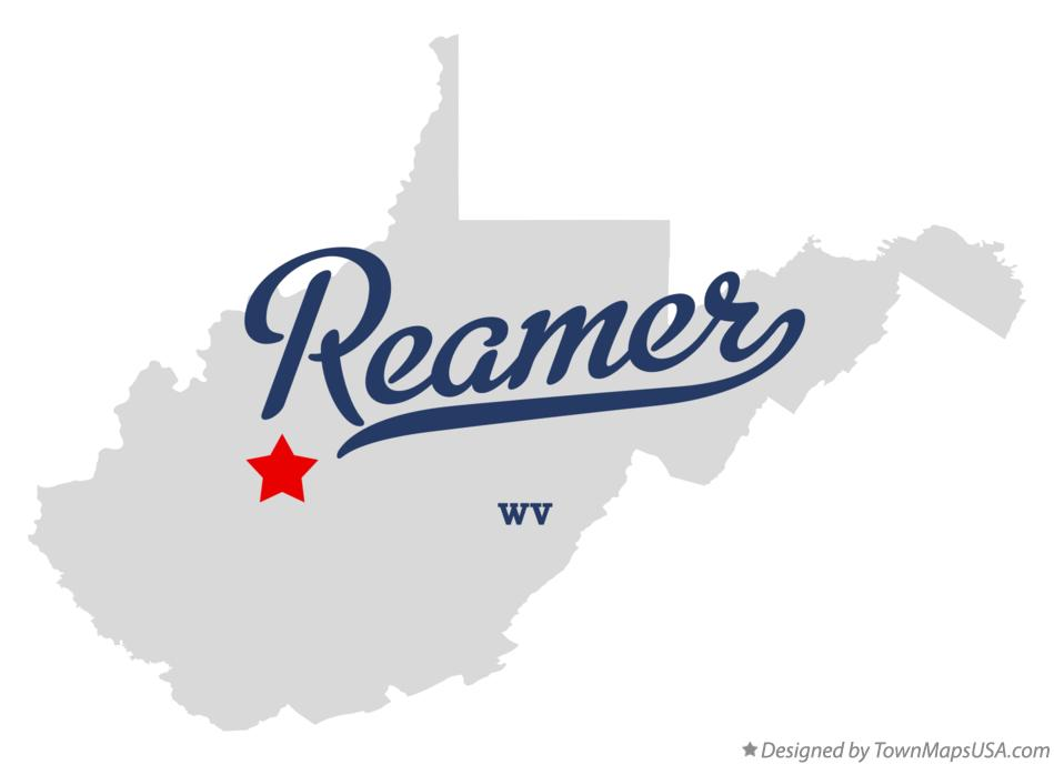 Map of Reamer West Virginia WV