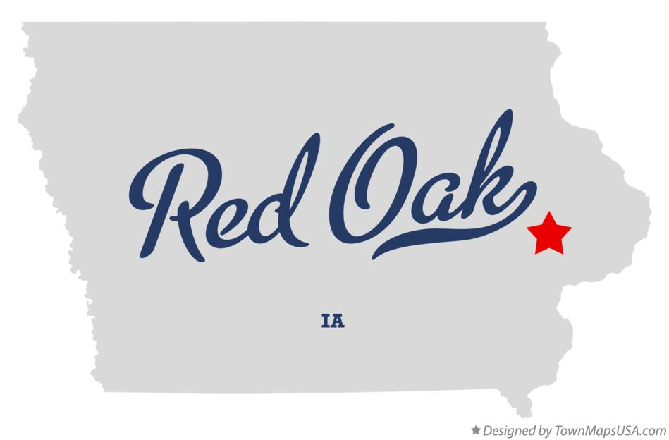 Map of Red Oak Iowa IA