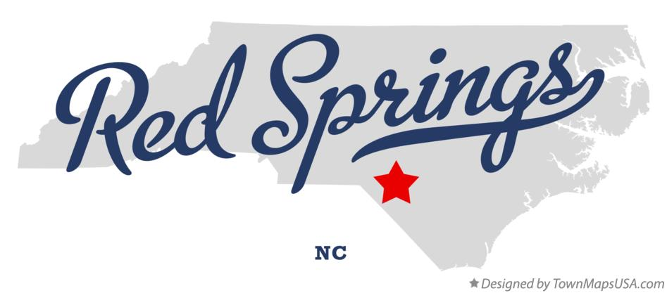 Map of Red Springs North Carolina NC
