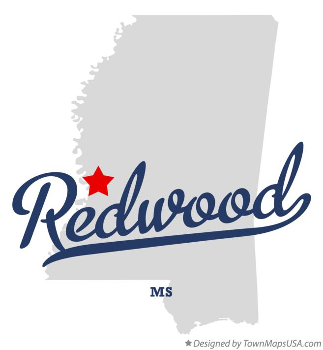 Map of Redwood Mississippi MS