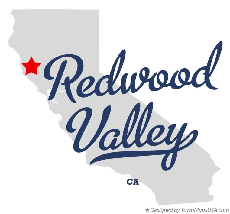 Map of Redwood Valley California CA