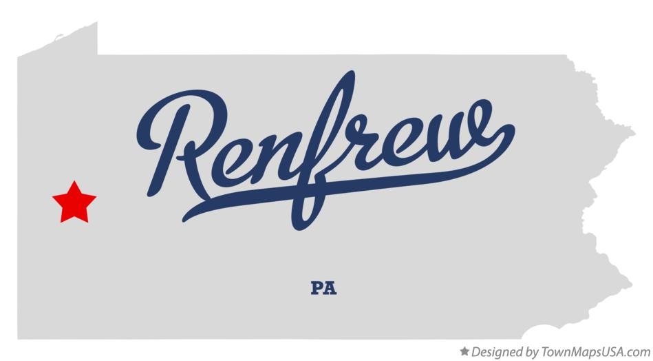 Map of Renfrew Pennsylvania PA