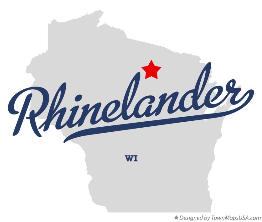 Map of Rhinelander, WI, Wisconsin