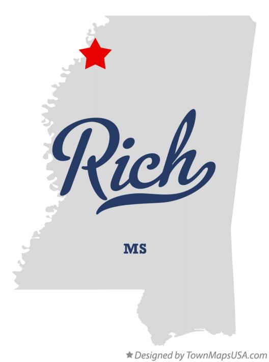 Map of Rich Mississippi MS