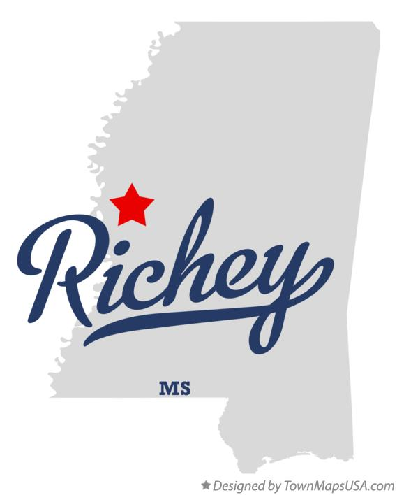 Map of Richey Mississippi MS