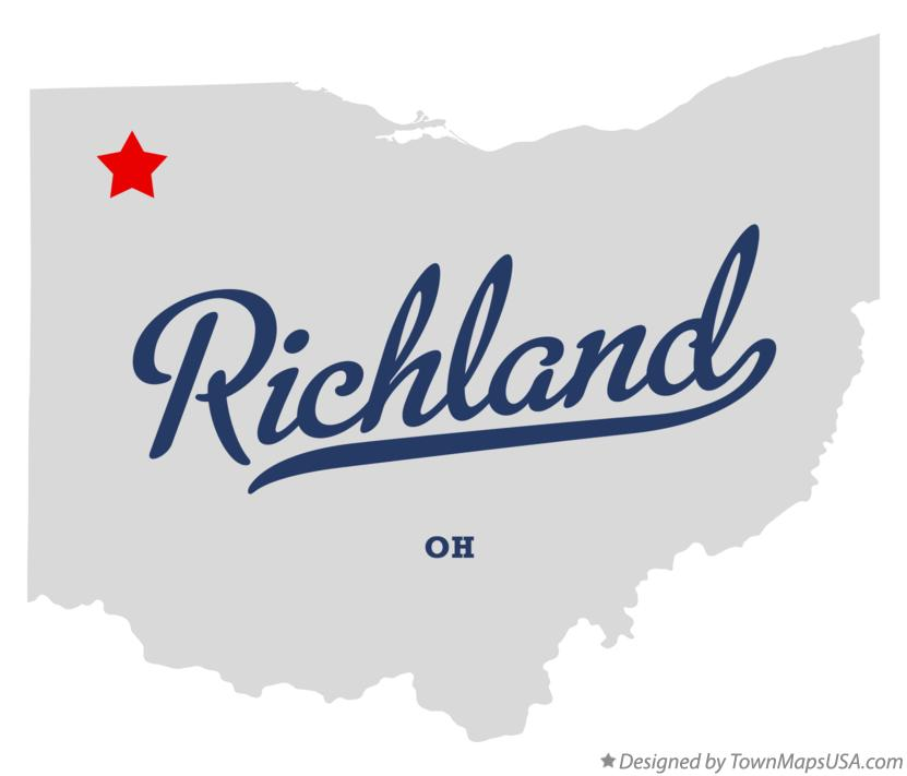 Map of Richland Ohio OH