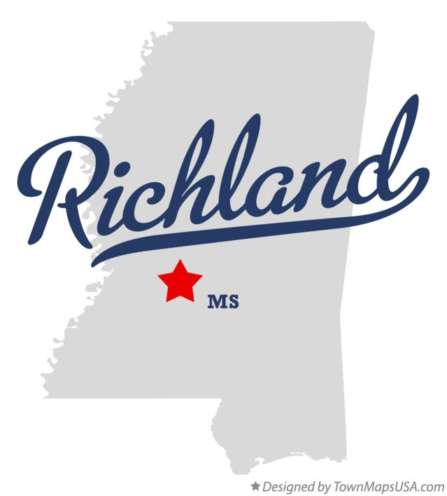 Map of Richland Mississippi MS