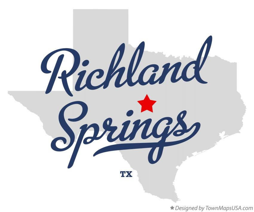 Map of Richland Springs Texas TX
