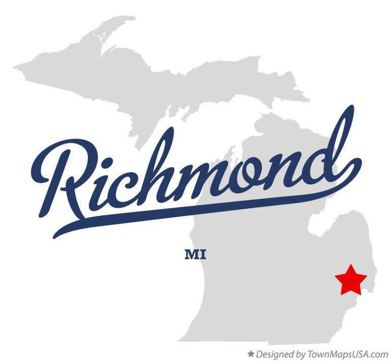 Map of Richmond, Macomb County, MI, Michigan