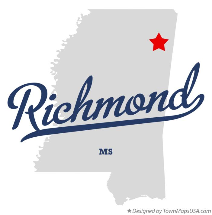 Map of Richmond Mississippi MS
