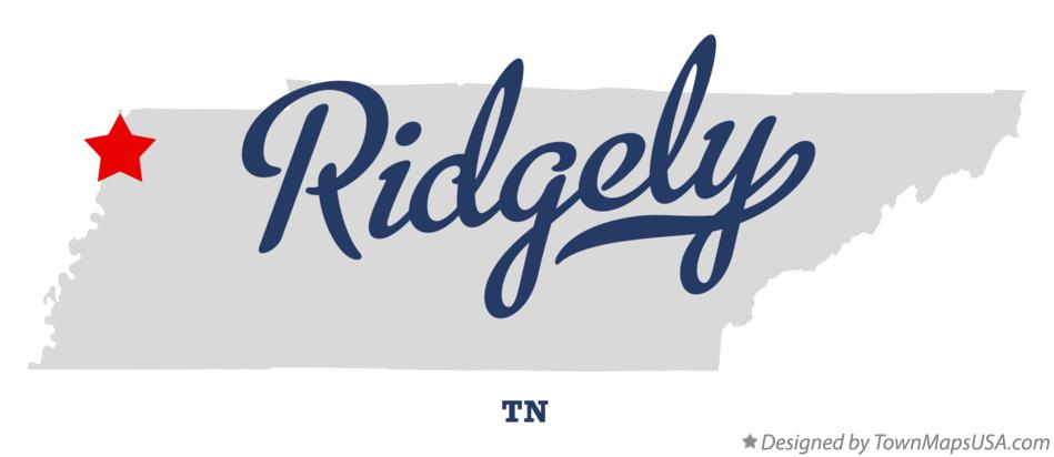 Map of Ridgely Tennessee TN