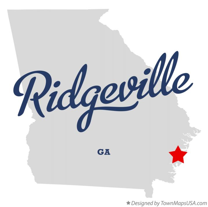 Map of Ridgeville Georgia GA