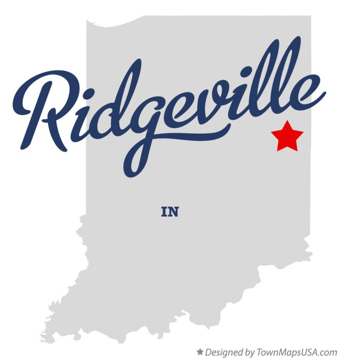 Map of Ridgeville Indiana IN