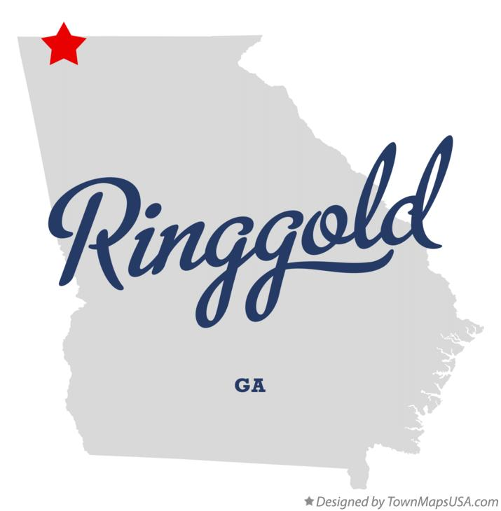 Map of Ringgold Georgia GA