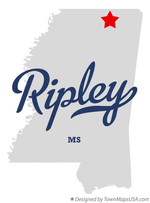 Map of Ripley Mississippi MS
