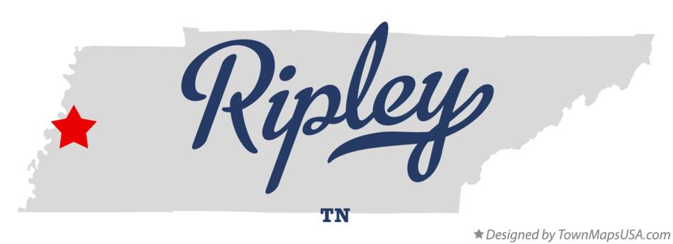 Map of Ripley Tennessee TN