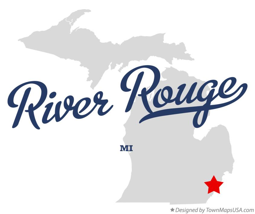 Map of River Rouge Michigan MI